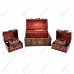 Cutii din lemn decorate cu flori - embosate - Mare - Mijlocii - Mici - 5 cutii