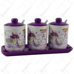 Set 3 recipiente pentru condimente cu lingura si capac pe suport - Design lavanda