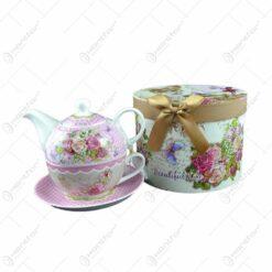 Set ceainic cu ceasca si farfurie ceai cu garfica in cutie decorata elegant si cu fundita - Beautiful life