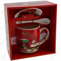 Cana de craciun cu farfurie si lingurita realizata din ceramica - Design Craciun - 2 modele