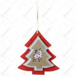 Decoratiune pentru geam realizata din lemn. decorata cu ren - Forma Brad/Inima - Diverse modele