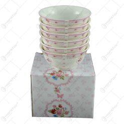 Set 6 boluri realizate din ceramica - Design floral