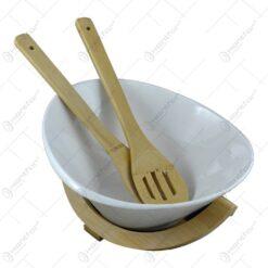 Bol ceramica cu ustensile si suport din bambus