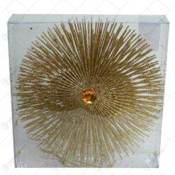 Set 6 ornamente realizate din sarma cu glitter auriu