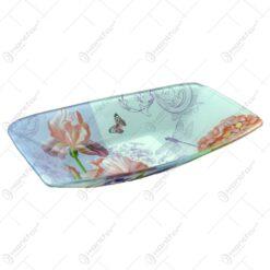 Platou pentru servire realizat din sticla - Design Flowers - Dreptunghiular (Tip 3)