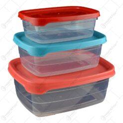 Set cutie 3 piese pentru depozitarea alimentelor - Diverse culori