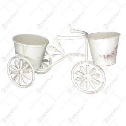 Suport pentru flori realizat din metal in forma de bicicleta. cap. 2 ghivece (Model 1)