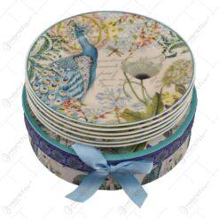 Set 6 farfurii realizate din ceramica - Design Paun