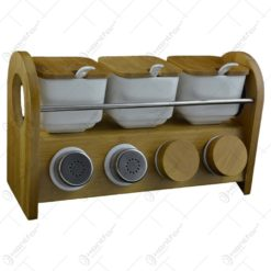 Set de dozatoare condimente realizate din ceramica pe suport de bambus