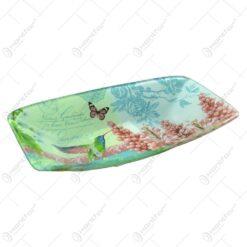 Platou pentru servire realizat din sticla - Design Flowers & Birds - Dreptunghiular  (Tip 2)