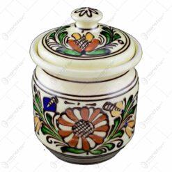 Recipient din ceramica de Corund pentru condimente pictat cu motive traditionale