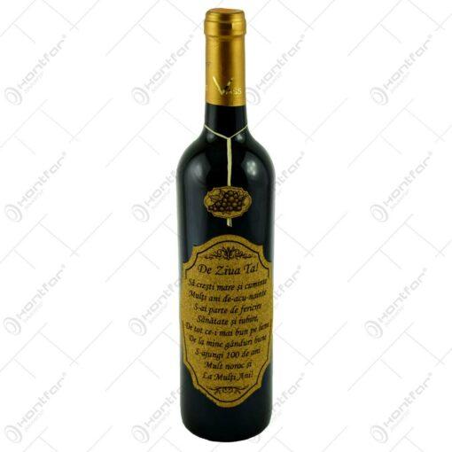 """Vin rosu 0.75l cu eticheta personalizata din pluta - Design """"De ziua ta!"""""""