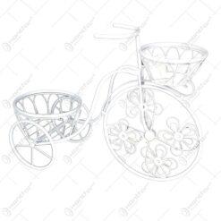 Suport pentru flori realizat din metal in forma de bicicleta. cap. 2 ghivece (Model 3)