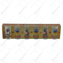 Set pahare de tuica in cutie de carton imprimat cu motive populare si poze din Transilvania