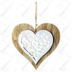 Decoratiune pentru geam realizata din lemn - Forma Inima/Clopotel - Culoare naturala