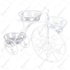 Suport pentru flori realizat din metal in forma de bicicleta. cap. 3 ghivece