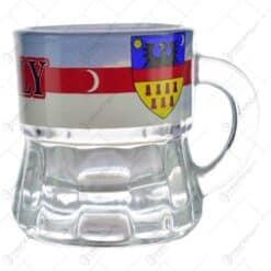 """Pahar pentru lichior/snaps realizat din sticla - Design cu stema si inscriptia """"Erdely"""""""