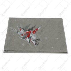 Fata de masa pentru sarbatori realizata din material textil - Design cu peisaj de iarna 85x85cm