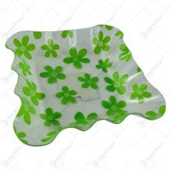 Tava transparenta realizata din material plastic decorata cu flori verzi (Medie)