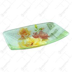 Platou pentru servire realizat din sticla - Design Trandafiri - Dreptunghiular (Tip 4)