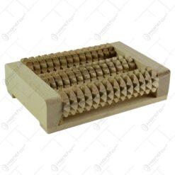 Aparat de masaj realizat din lemn cu 3 role - ( 18x7 cm )