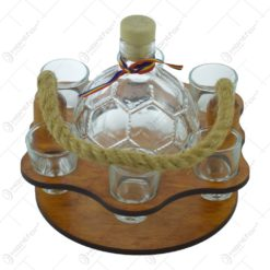 Suport lemn cu maner de franghie cu sticla si pahare de tuica - sticla in forma de minge