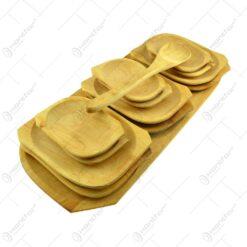 Set vesele din lemn de arin pentru servirea mesei cu facalet (9 +1)