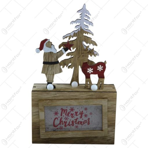 Ornament cu led realizat din lemn - Design Merry Christmas