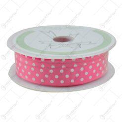 Panglica decorativa realizata din satin - Pink cu buline albe (15MMX10M)