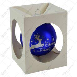 """Glob pentru brad in cutie cadou - Design cu ren si inscriptia """"Craciun Fericit"""" - Albastru"""