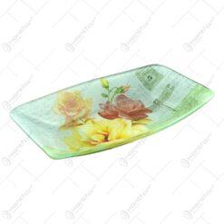 Platou pentru servire realizat din sticla - Design Trandafiri - Dreptunghiular (Tip 2)