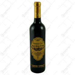 """Vin rosu 0.75l cu eticheta personalizata din pluta - Design """"Pentru cel mai bun frate"""""""