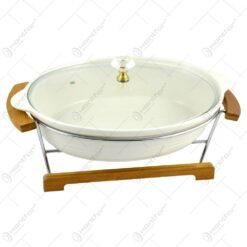 Tava realizata din ceramica cu capac de sticla si suport din inox (Tip 3)