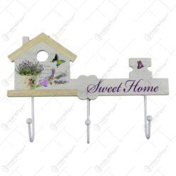 "Suport de perete pentru chei - Lavanda Casuta si inscriptia ""Sweet Home"""