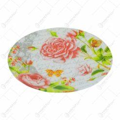 Platou cu talpa pentru servire realizat din sticla - Design Trandafir