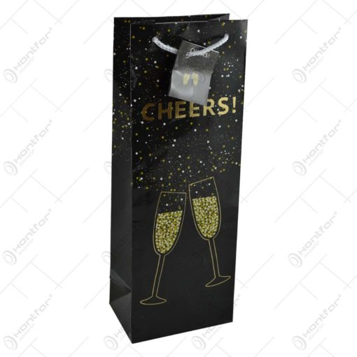 Punga cadou pentru bauturi - Design cu pahare de sampanie