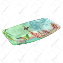 Platou pentru servire realizat din sticla - Design Flowers & Birds - Dreptunghiular (Tip 3)