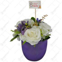 Ghiveci decorat cu flori - 8 Martie - 2 modele