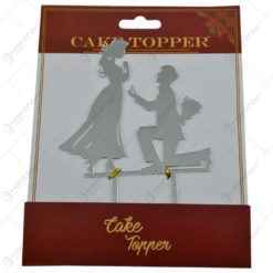 Ornament pentru tort realizat din plastic - Design Mire si mireasa - 2 modele Auriu/Argintiu