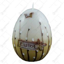 Lumanare de Paste in forma de ou decorata cu fluturi si matisori - Eastern