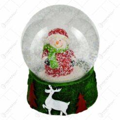 Glob de zapada pentru Craciun realizat din sticla - Design Om de zapada (Model 2)