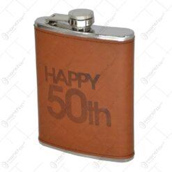 Plosca realizata din inox si acoperti cu piele ecolgica - Happy 50th