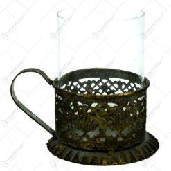 Candela realizata din metal si sticla in forma de cana - Design Vintage (Model 2)
