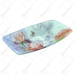 Platou pentru servire realizat din sticla - Design Flowers - Dreptunghiular (Tip 1)