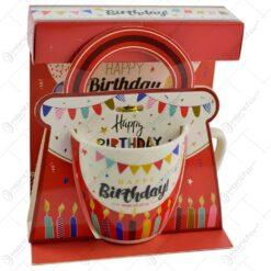 "Cana realizata din ceramica in cutie - Design ""Happy Birthday - Diverse modele"