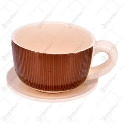 Ghiveci pentru flori realizat din ceramica - Design Ceasca de cafea cu farfurie - Maro-Negru (Tip 1)