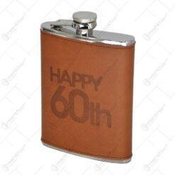 Plosca din inox cu husa confectionata din piele - Design Happy 60th