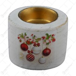 Suport pentru lumanare realizat din ceramica - Design cu glob si ghirlanda - Diverse modele (Model 3)