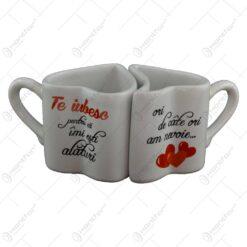 Cana ceramica dubla in forma de inima. inscriptionate cu mesaje de dragoste
