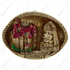 Placheta din ipsos in forma rotunda reprezantand anumite cladiri istorice din Romania